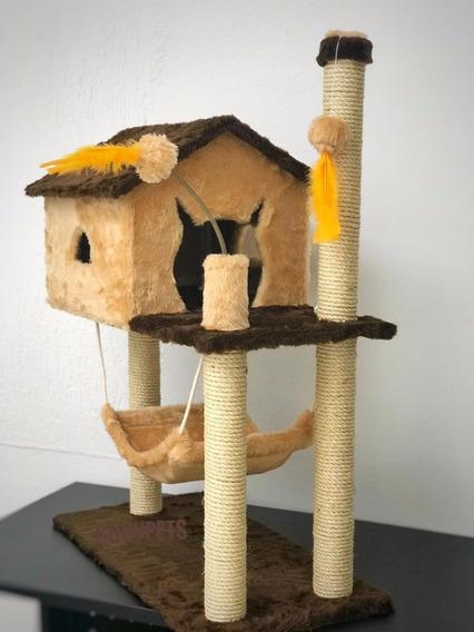 Arranhador Para Gato Casa Com Rede Pena Bola Varias Cores