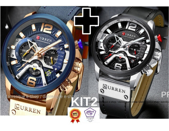 Relógios Curren 8329 Azul Preto De Luxo 2019 Casual Kit2