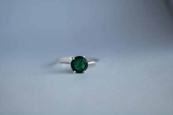Anel Solitário Em Prata 950 Verde
