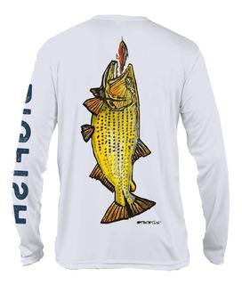 Remera Pesca Dorado Secado Rapido Uv Blanca Big Fish Con Cap