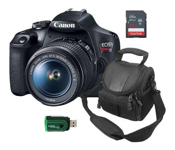 Canon Rebel T7 Com Lente E Acess Bolsa+leitor E Cartão 32gb