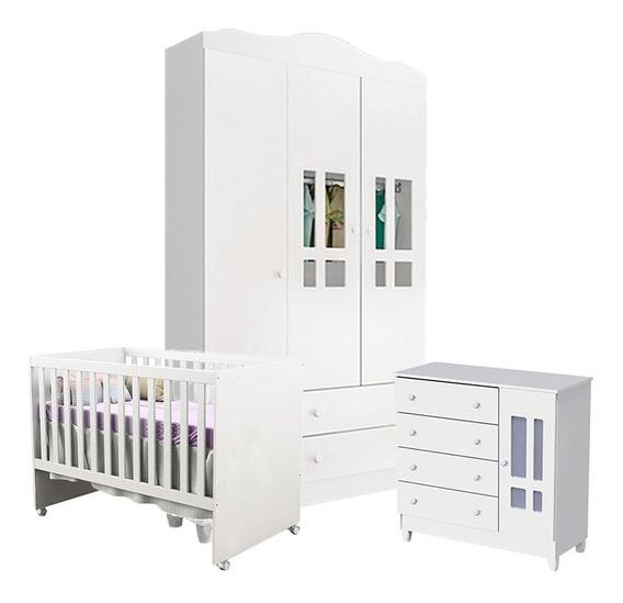 Quarto De Bebê Ariel 3 Portas Com Berço Gabi Branco Brilho