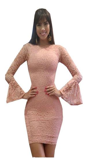Vestido Renda Clássico Manga Flare Fler Imperio Rosê Vrm124