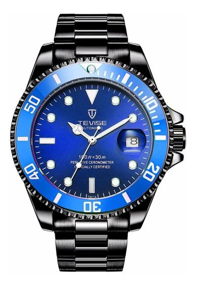Tevise Senhores De Aço Inoxidável Relógio Mecânico-azul