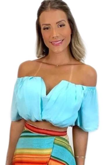 Cropped Blusa Ciganinha Decote V Com Bojo Moda Feminina Top