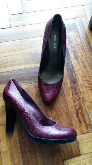 Zapatos Mujer Taco Stilettos Bordó Nine West 38 O 7y 1/2 Us
