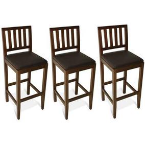 Trio Banqueta Ripada Madeira Maciça Jequitibá Mel Estofado