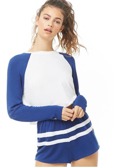Forever 21 Short De Pijama Azul Con Franjas Blancas Stretch