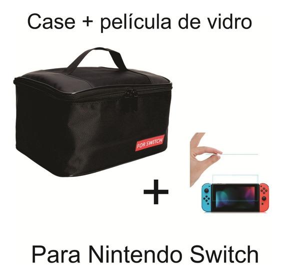Bolsa Case Viagem Para Console Nintendo Switch Com Alça De Mão Cabe Tudo Proteção + Película De Vidro