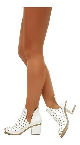 Zapatos Botas Botinetas Mujer Pre-temporada Tachas Cuero Pu Boquita De Pez Mugato-bsas® Art 703