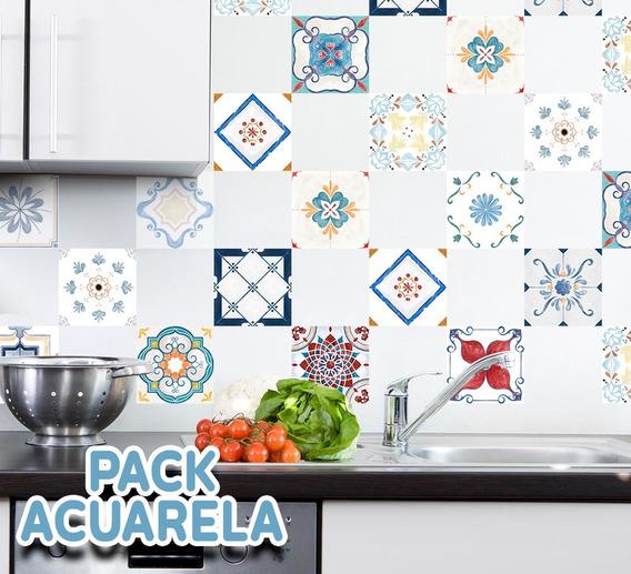 Azulejos Vinilos Decorativos Autoadhesivos Acuarela X40un