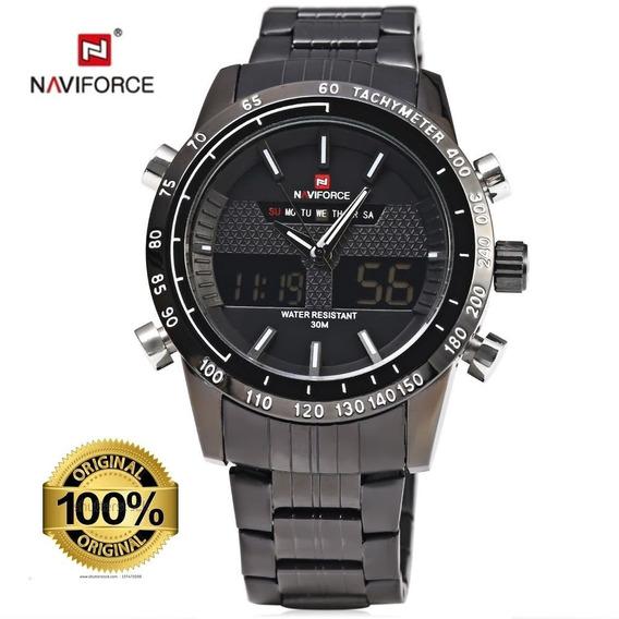 Relógio De Pulso Masc Naviforce 9024 Pb Nota Fiscal + Brinde