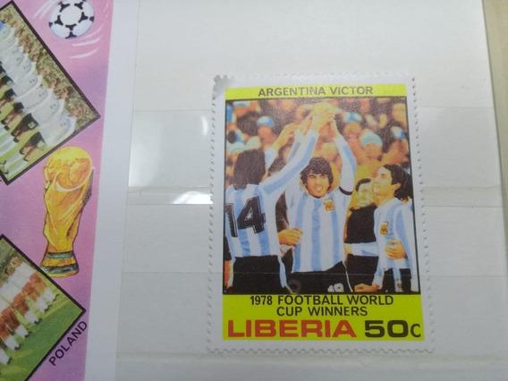 1 Bloque Y 6 Sellos Liberia 78 - Mundial Argentina 78-