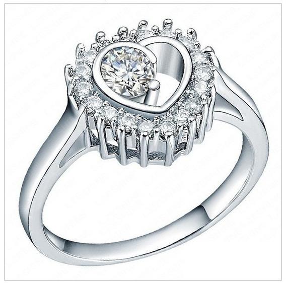 Anel Solitário Coração De Diamante Banhado Prata925 Zircônia