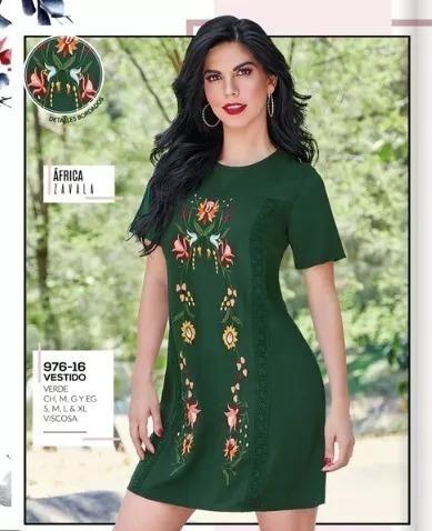 Vestido Dama Cklass 976-16 Verde Bordado Floral Oi-19