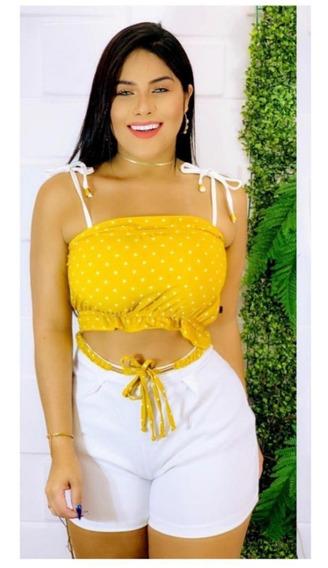 Kit 5 Conjuntos Femininos Blusa E Short Cropped Atacado