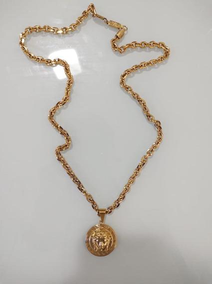 Corrente E Pingente Versasse Folhado Ouro 18k 68 Cm