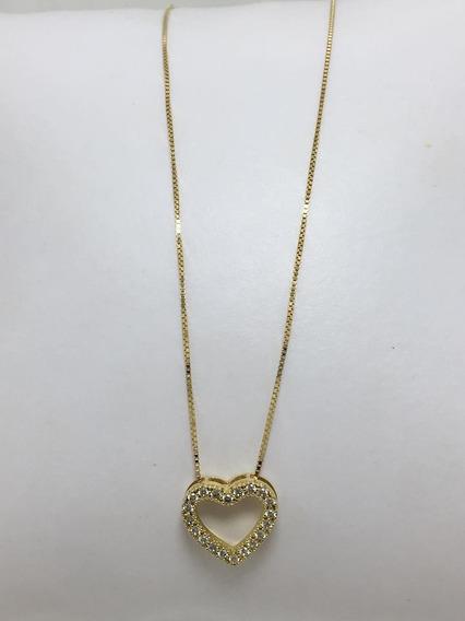 Corrente Em Ouro 18k, Veneziana Com Coração, Zircônia
