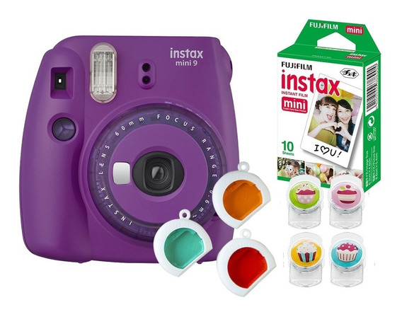 Câmera Fujifilm Instax Mini9 Roxo Açaí C/filtros+ Acessórios