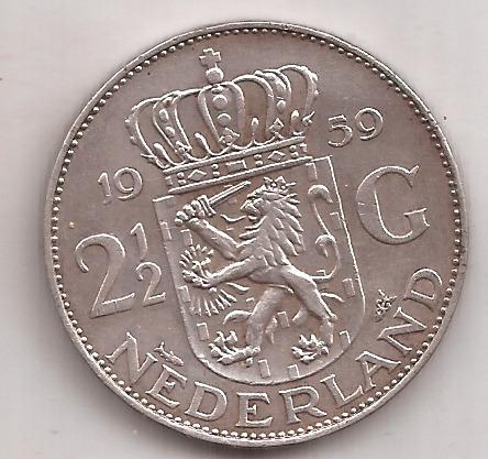 Holanda Moneda De Plata 2 1/2 Gulden Año 1959 15 Gramos