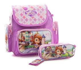 Bolsa Mochila Escolar Infantil Princesinha Sofia + Estojo