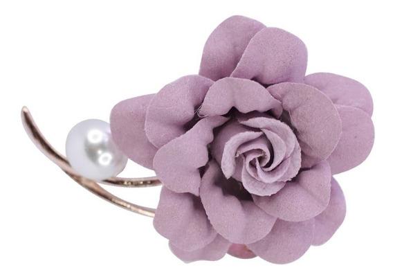 Dije Pin Broche Para Ropa Flores Perlas Piedras Cristal Lila