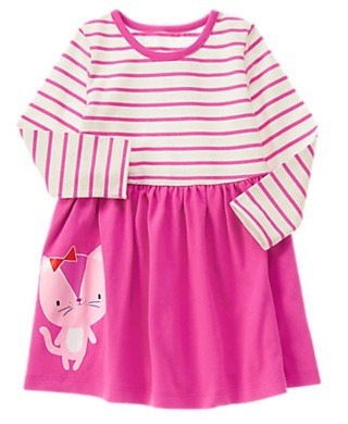 Vestido Infantil Gymboree - Malha Fucsia Gato