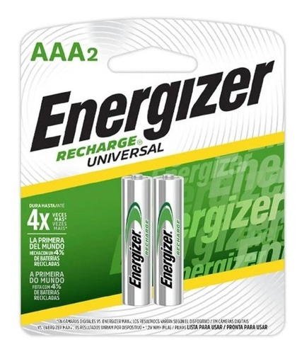 Imagen 1 de 6 de Energizer Recargables Aaa Par