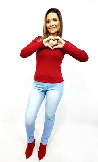 Kit 3 Calça Jeans Feminina Cintura Alta Com Lycra Skinny
