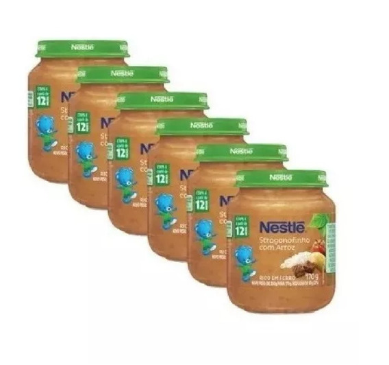 Papinha Nestlé Strogonofinho Com Arroz 12 Potes Premium
