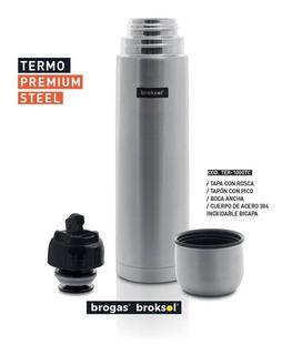 Termo Acero Inoxidable 1 Litro Brogas Tapon Pico Cebador