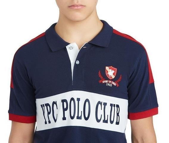 Playera Ypc Polo Club Azul Franja Blanca Juvenil