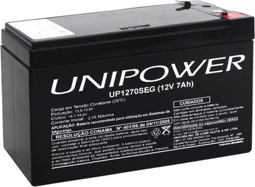 Bateria Unipower Selada 12v 7ah Up1270seg Alarme Nobreaks/up