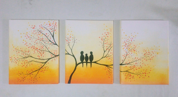 Cuadro Decorativo Triptico Pintado A Mano Pajaritos