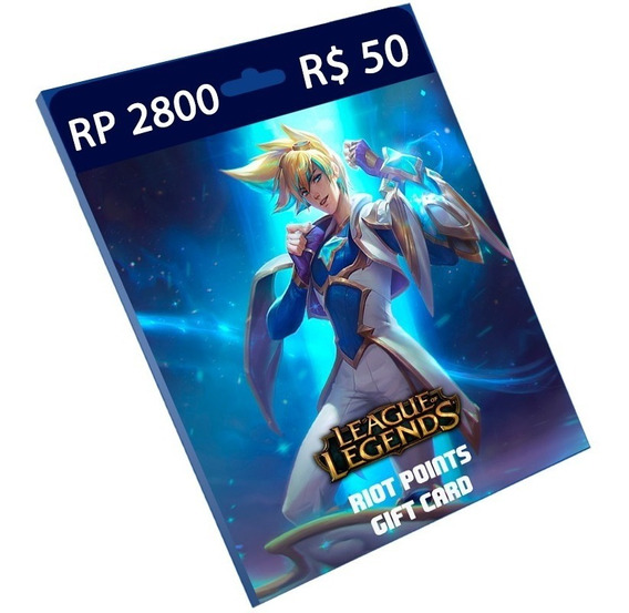 Cartão League Of Legends R$ 50 2.800 Riot Points Lol Rp Br