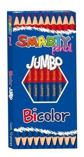 Lápiz Bicolor Hexagonal Jumbo Cja C/10 Pzas. Smarty