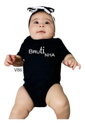 Body De Bebês Feminino Escrito Brutinha Branca Country