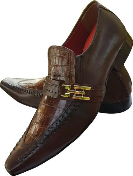 Sapato Masculino Italian-couro Marrom Rustico Baixo Ref:773