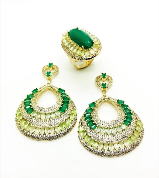 Anel E Brincos Cristal Verde Esmeralda Banhado De Ouro 4474