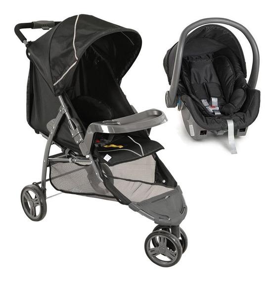 Carrinho Bebê Galzerano Cross Preto 3 Rodas + Bebê Conforto