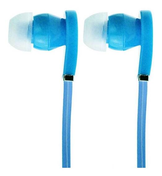 Kit 5 Fone De Ouvido Emborrachado Auricular Ms-5a Azul