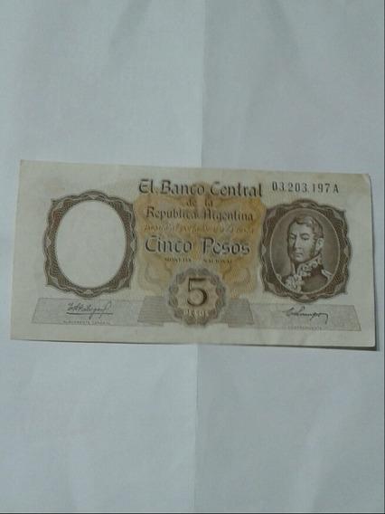Billete Antiguo Serie A Argentino Cinco Pesos