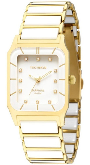 Relógio Technos Original Elegan 2036lmp/4b Dourado E Branco