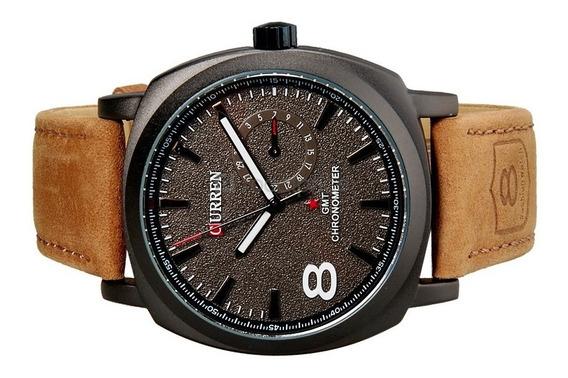 Relógio Luxo Curren Pulseira De Couro Esportivo Militar
