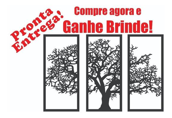 Quadro Decorativo Preto Árvore Da Vida 3 Peças Mdf Decoração