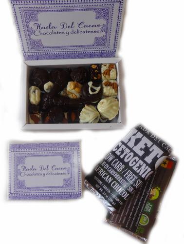 Imagen 1 de 10 de 1/4 Bombones Chocolate Premium Cacao Stevia Keto Cetogenico