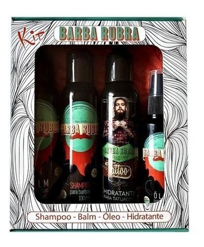 Kit Barba Rubra Shampoo, Balm, Óleo Hidratante Tatuagem