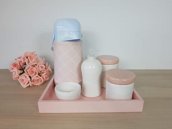 Kit Higiene Porcelana Bebe Rosa E Branco Garrafa Com Capa