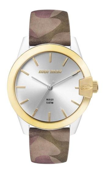 Relógio Mormaii Feminino Analógico Dourado Branco Camuflado