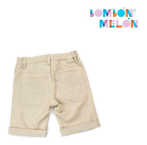 Bombón Melon - Bermuda Lino Beige Para Niño, Talla 6
